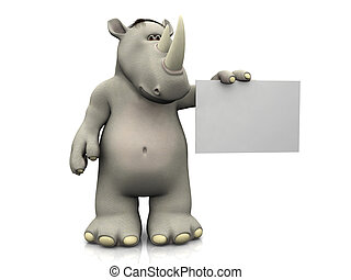 Cartoon rhino with blank sign - A cartoon rhino holding a...