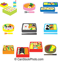 Japanese BENTO, box lunch, bento box, vector file