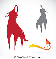 Vector image of an wolf design on white background