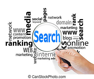 Magnifying glass with search SEO