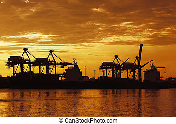 port warehouse with container cargo and crane bridge -...