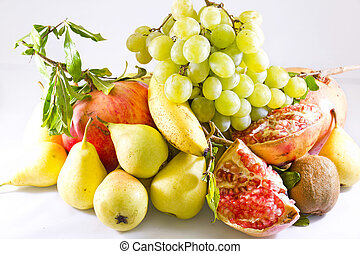 Fruits - Closeup of mixed fruit on a white background