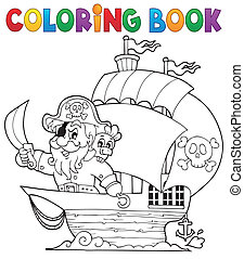 Coloring book ship with pirate 1 - eps10 vector...
