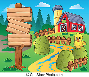 Farm theme with red barn 1 - eps10 vector illustration