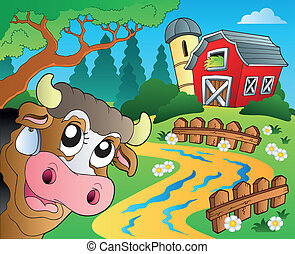 Farm theme with red barn 6 - eps10 vector illustration.