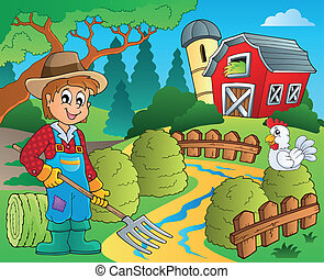 Farm theme with red barn 7 - eps10 vector illustration.