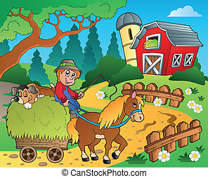 Farm theme with red barn 8 - eps10 vector illustration.