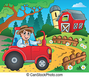 Farm theme with red barn 9