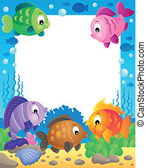 Fish theme frame 1 - eps10 vector illustration.