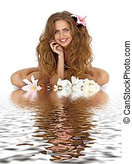 woman with flower in water