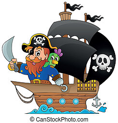 Ship with pirate 1 - eps10 vector illustration