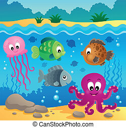 Underwater ocean fauna theme 1 - eps10 vector illustration.