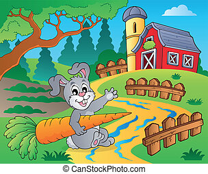 Farm theme with red barn 2 - eps10 vector illustration.