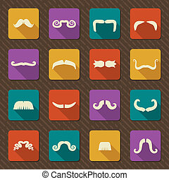 Set of mustaches .Vector retro icons - Mustaches...