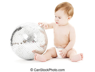 adorable baby boy with big disco ball over white