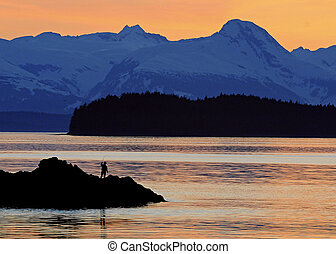 faslse out point, juneau Ak - sunset salmon fishing, juneau...