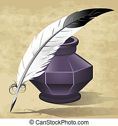 Quill pen - Illustration with quill pen and ink pot drawn in...