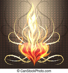 Burning heart - Illustration with heart burning in the...