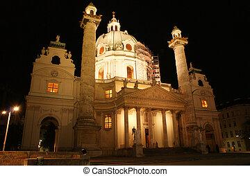 Vienna - Karlskirche church in Vienna,Austria by night.