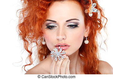 Red hair. Fashion girl portrait.Accessorys.Isolated on a white background