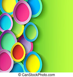 Easter background with colorful 3d Easter egg