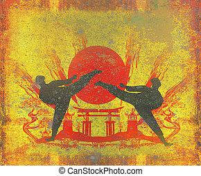karate, Ocupaciones, -, Grunge, vendimia, textura