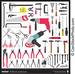 Tools vector silhouettes collection Handtool types