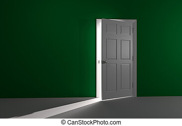 Open door with incoming light - 3D rendered image of a white...