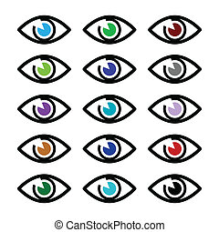 Eye colors sight icons set - vector - Vector icons set of...