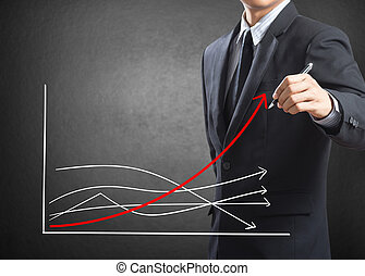 Business man drawing growth chart, Difference concept