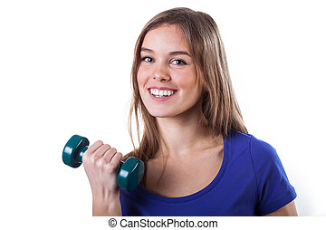 Girl keeping fit - Beautiful happy young girl exercising to...