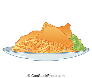 fish and chips - an illustration of a plate of fish and...