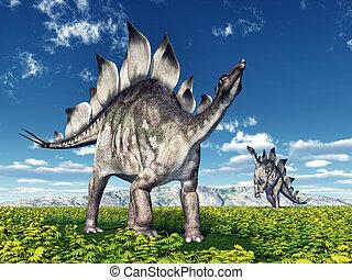 Dinosaur Stegosaurus - Computer generated 3D illustration...