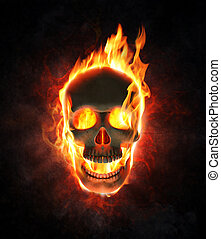 Evil skull in flames and smoke - Evil skull burning in...