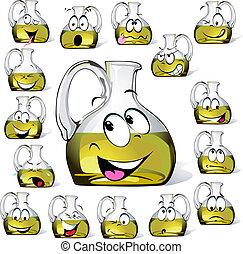 Olive oil bottle cartoon isolated on white