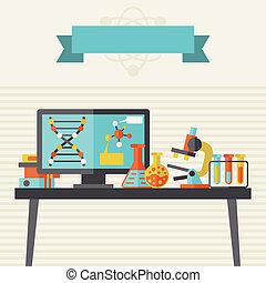 vetenskap, begrepp, Illustration, lägenhet, design,...
