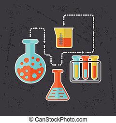 plano, concepto, Ciencia, Ilustración, diseño, estilo