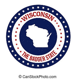 Wisconsin stamp - Vintage stamp with text The Badger State...