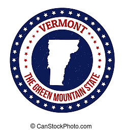 Vermont stamp - Vintage stamp with text The Green Mountain...