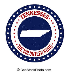 Tennessee stamp - Vintage stamp with text The Volunteer...