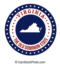 Virginia stamp - Vintage stamp with text The Old Dominion...