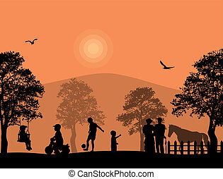 Children playing in a park on beautiful place, vector...