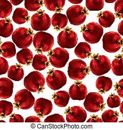 Pomegranate seamless pattern - Seamless natural organic red...
