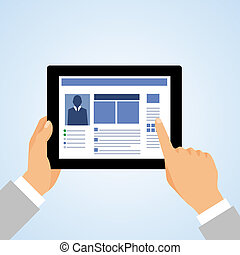 Hand tablet pc social - Business hand holding and using...