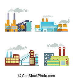 Building industry icons set - Industrial building factory...
