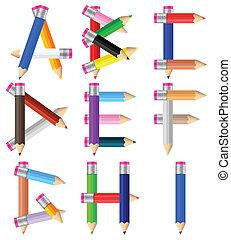 pencils letter A-I