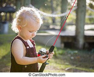 CÙte, jovem, Menino, com, pesca, polaco, a, lago