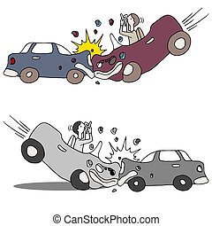 Texting Car Accident - An image of a texting car accident