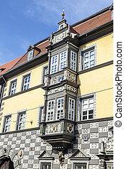 hermoso, adornado, casa, fachadas, Erfurt