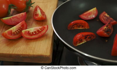 Organic Tomatoes Fried with Salt - Static shot of organic,...